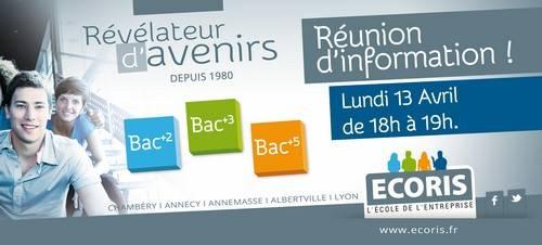 Réunions d'informations Lundi 13 avril  à 18h00 dans les écoles ECORIS Chambéry, Annecy, Annemasse, Albertville et Lyon